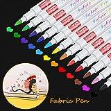 Baozun Textilstifte Textilmarker 12 Farben Waschmaschinenfest Stoffmalstifte Waschfest Permanent Stoffmalfarben Stifte für T