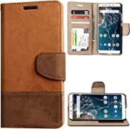 TecKraft MiA2NwLthrIDBrw_TK PU Leather Wallet Case Flip Cover for Mi A2 (ID Brown)