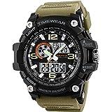 TIMEWEAR Analogue - Digital Men's Watch (Black Dial Brown Colored Strap)
