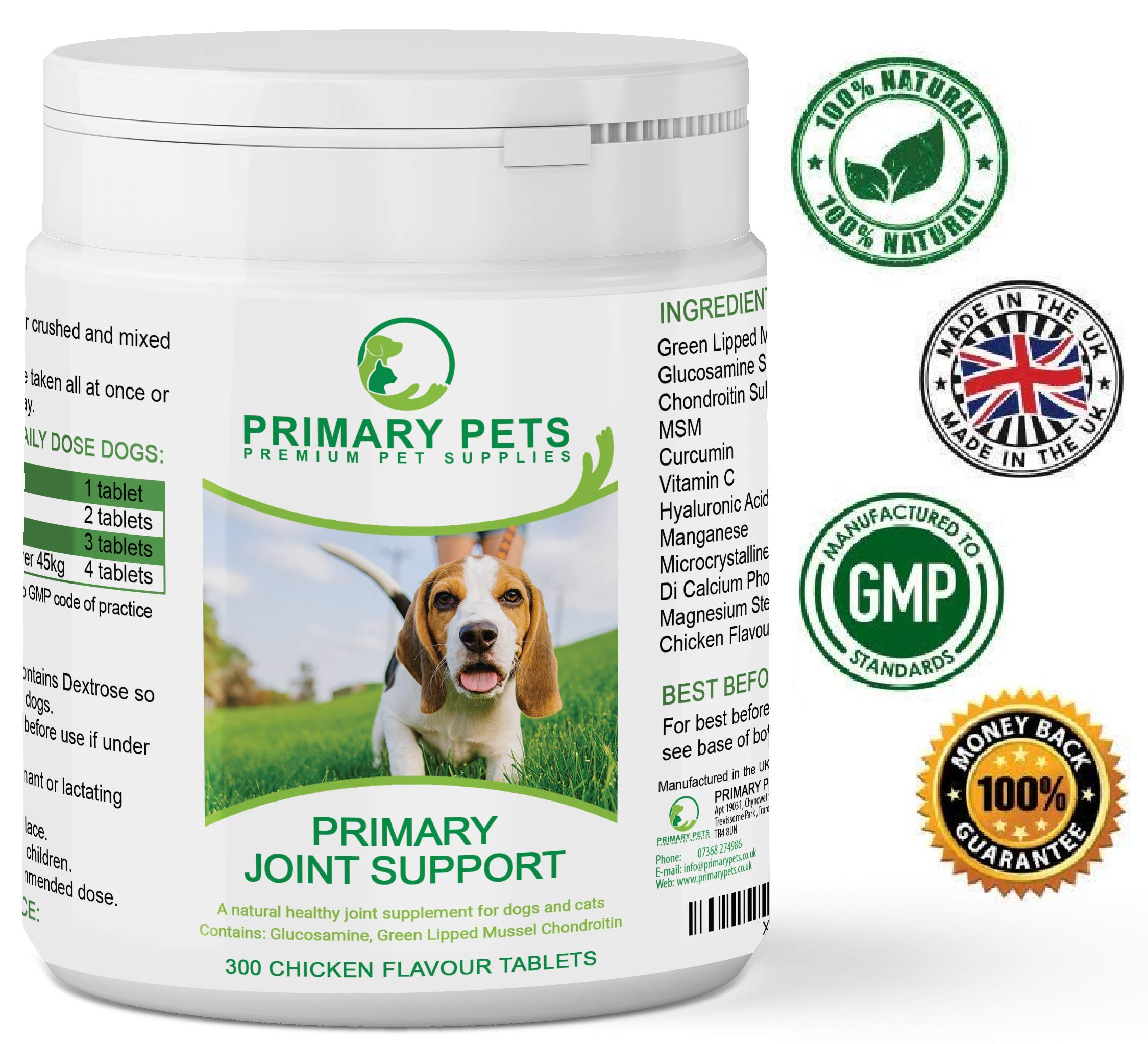 Primary Pets Premium Pet Supplies Hip and Joint Care for Dogs. Pack of 300 Tablets. Advanced Joint Aid Supplement with Glucosamine. For Dogs with Sore Joints or Young Growing Puppies