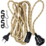 WEKON Douille de Lampe Plug-in avec Corde de Chanvre Câble 4.5m, Corde Torsadée E27 DIY Suspension Lampe, Lampe Suspension av