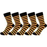 ZAKIRA Finest Combed Cotton Striped Dress Socks for Men, Women - Pack of 5