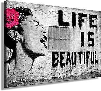 """Amazon.de: Druck auf leinwand """"Banksy"""" Graffiti - Bild"""