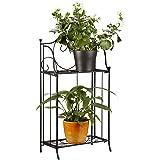 Relaxdays Blumenregal Metall 2-stöckig für Topfpflanzen, Balkon-Deko draußen, stehend HxBxT: 64,5 x 33,5 x 18cm, schwarz