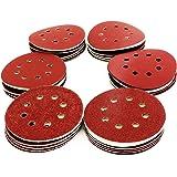S&R Klett slippapper set 125 mm 70 st: 10 x P60, P80, P120, P180, P240, P320, P400, 8 hål, slipblad för excenterslipmaskin