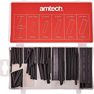 Amtech S6205 Heat Shrink Wrap Assortment, 7 Different Size Heat Shrink Tubes, 600V rated UL certified, 127 pieces plus Storage Case
