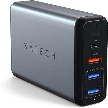 Satechi Typ-C 75W Reiseladegerät mit USB-C PD Schnellladefunktion Qualcomm Quick Charge 3.0 kompatibel mit MacBook Pro, MacBook, 2018 iPad Pro, iPhone, 2018 MacBook Air und vieles mehr (Space Grau)