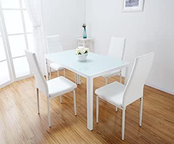 white glass dining table set with 4 faux leather chairs brand new white amazoncouk kitchen home - White Glass Dining Table