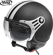 Vinz Rollerhelm Jethelm Fashionhelm   Roller Jet Helm mit Streifen   in Gr. XS-XL   Motorradhelm mit Visier   ECE zertifiziert (S, Matt Schwarz)
