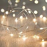 Lights4fun Guirlande Lumineuse à Piles avec 20 Micro LED Blanc Chaud sur Câble Argenté