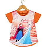 ICABLE Girls Frozen Print Cotton Cap Sleeves Tshirt