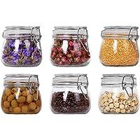ComSaf 500ml Bocaux en Verre Hermetique avec Couvercle Lot de 6, Bocal Conservation Canister Jar Récipient Alimentaire…