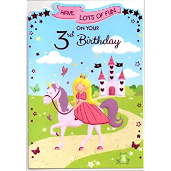 Birthday Card For Three 3 Year Old Girl