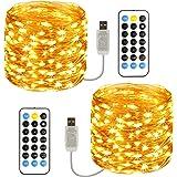 Guirlande Lumineuse, [Lot de2] 12M 120 Guirlande LED USB IP65 Etanche 11 Modes Fairy Lights interieur et extérieur Girlande d