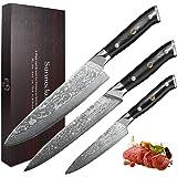 Sunnecko Set Couteau Cuisine Couteaux Damas 3 Pcs- Couteau de Chef + Couteau à Trancher + Couteau Tout Usage Set Couteaux Pro