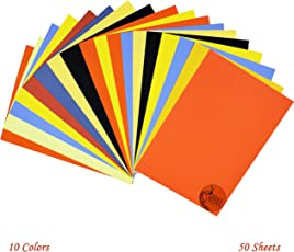 Asian Hobby Crafts A4 Sheets (80 GSM, Multicolour) - Pack of 50