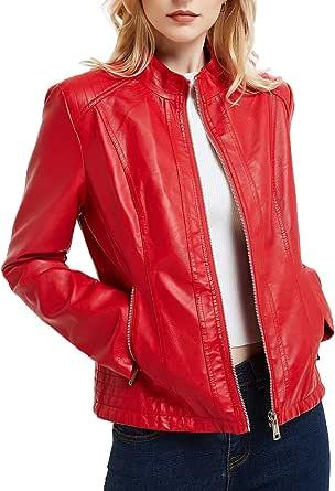 Bellivera Giacca Corta da Donna in Pelle PU(3 Colori), Giacca Tasche con Cerniera, Giacca in Pelle PU per l'autunno e l'inverno