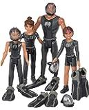 Simba 109391002 Die Nektons Familienpack/4er Figurenset/Will/Ant/Fontaine/Kaiko/im schwarzen Tauch-Outfit