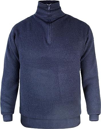 Herren Troyer Pullover mit Rollkragen und Reißverschluss Blau Gr ...