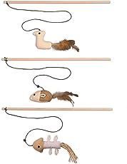 Katzenspielzeug Katzenangel Spielangel Spielmaus 3er Set Katzenbeschäftigung Kratzspielzeug Geschenkbox Stofftiere interaktives Spielzeug Katzen Zubehör Maus mit natürlichen Fasern und Federn