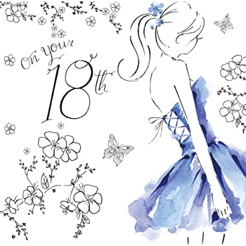 Twizler 18th Birthday Card For Her With Swarovski Crystal Finish Silver Foiling Unique Watercolour Effect And Party Dress