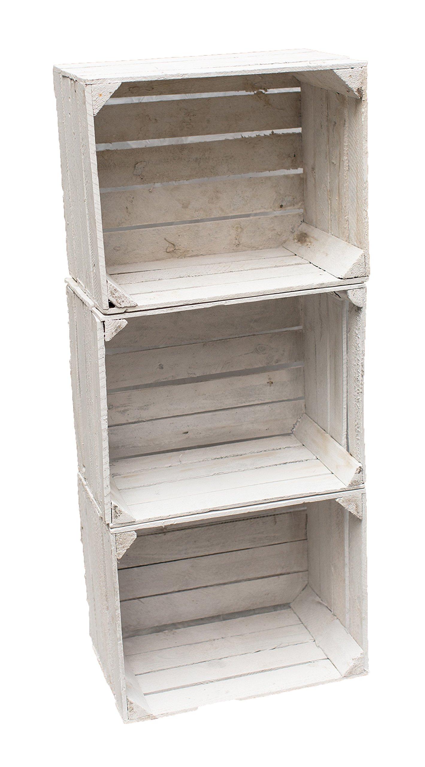 obstkisten 3 cassette in legno colore bianco. Black Bedroom Furniture Sets. Home Design Ideas