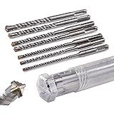 KSP-Tec | SDS Plus Bohrer Set | Hammerbohrer für Beton mit 4 Schneiden in den Größen 5,6,6,8,8,10,12 x 160 - verpackt in eine