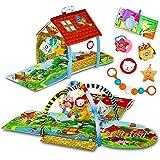 Lionelo Agnes 2 in 1 Palestrina neonato casetta con tappetino per neonati e bambini con massaggiagengive giochi pendenti libr