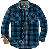CQR Men's Long Sleeve Heavyweight Fleece Shirts, Plaid Button Up Shirt, Warm Corduroy Lined Collar & Cuffs Shirtt
