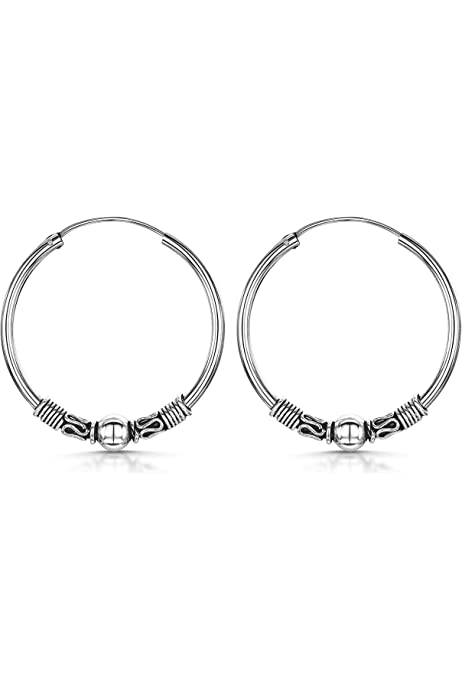 Unique Links 925 Sterling Silver High Polished 3mm Lightweight Circle Endless Hoop Earrings Choose a Diameter25,30,35,45,50mm