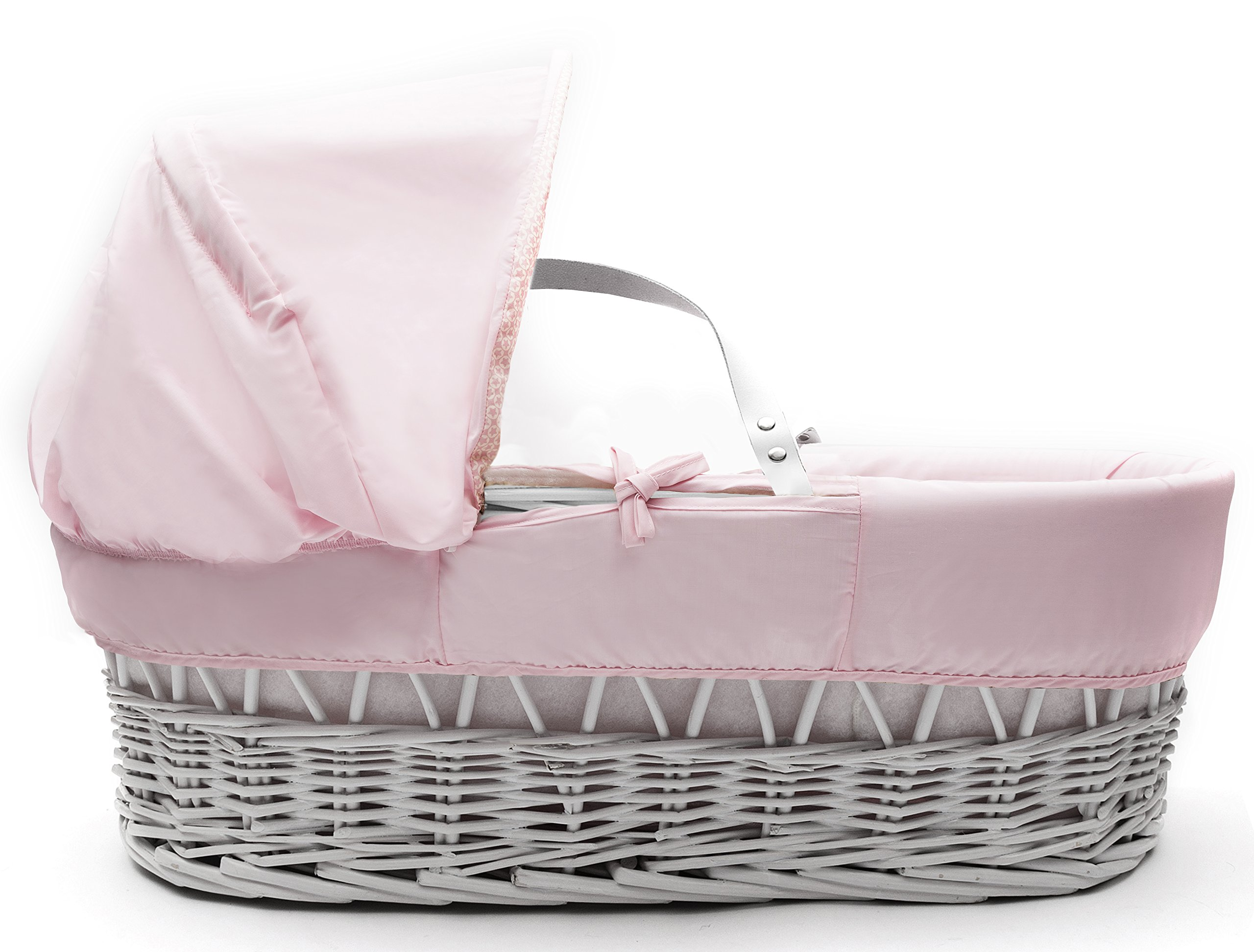 Beary Nice Pink White Wicker Moses Basket & Deluxe White Rocking Stand Elegant Baby Suitable from newborn for up to 9kg, this Moses Basket uses Easy-care Poly Cotton with a soft padding surround Suitable from newborn to 9 months It also includes a comfortable mattress and an adjustable hood perfect to create a cosy sleeping space for your precious little one 3