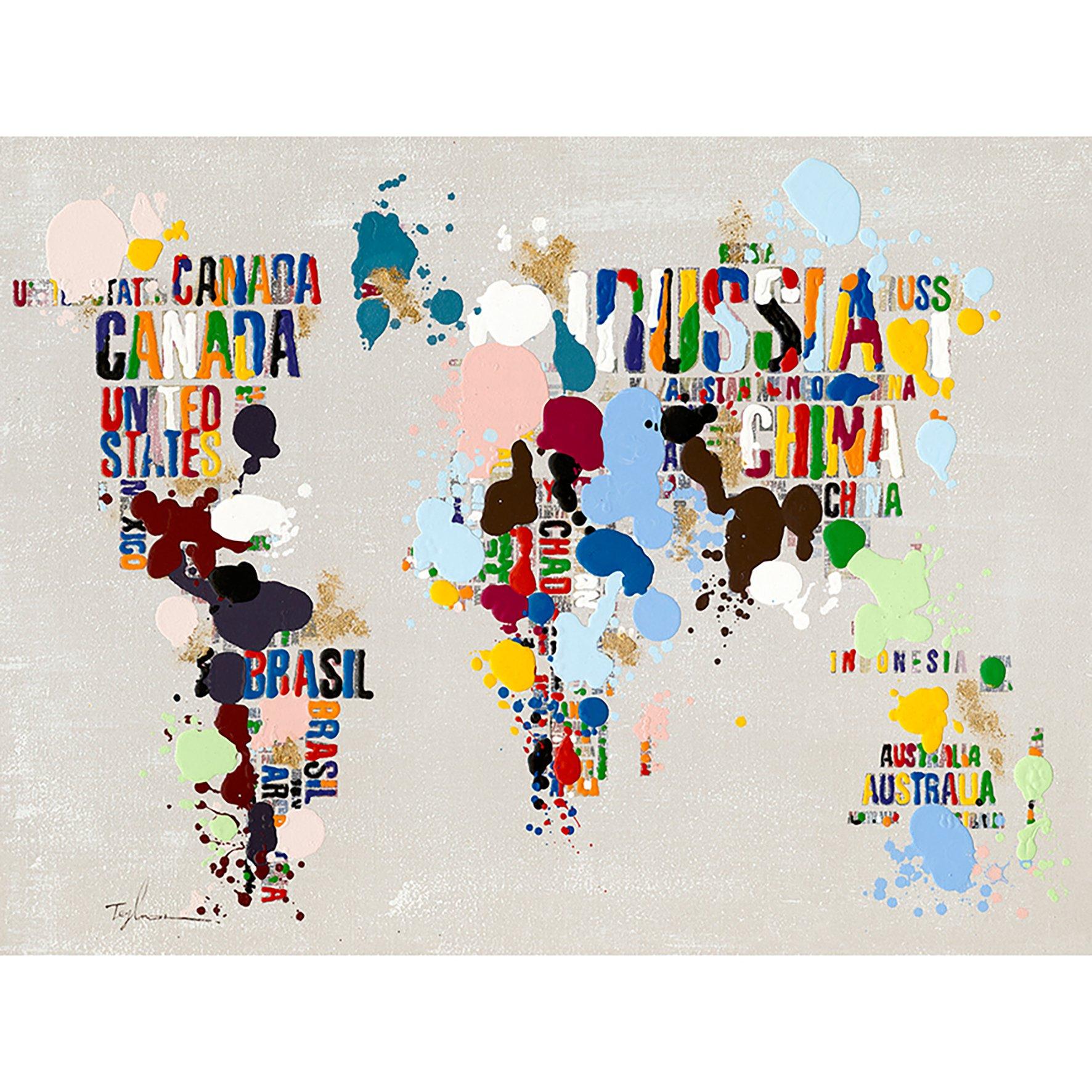 Sema 17077Tela dipinta 80x 110Mappamondo in colore tela multicolore, 3.5x 109x 80cm