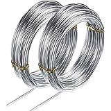 YMWALK Aluminium Craft Wire, 2 Roll Zilver Aluminium Craft Wire voor Sieraden Ambachten, Modelling Making, Armaturen en Beeld
