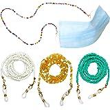 ErenBros PACK 4 Cordones para gafas de perlas de colores - Sujeta mascarillas con mosquetones pequeños - Cuelga mascarillas (