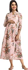 ANAYNA Women's Cotton Floral Printed Long Maternity Dress (Pink)