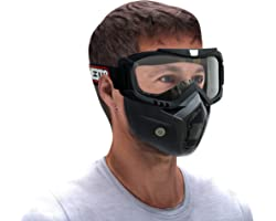 Steelbird 3 in 1 Unisex Face Shield Mask, Goggle ( Transparent Glass )