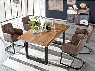 Woodkings Tischgruppe Clinton, Esstisch 170x90 Mit 4 Schwingstühlen,  Holztisch Mit Baumkante, Esszimmerstuhl Kunstleder