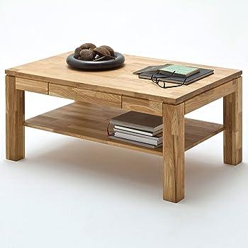 Couchtisch Holz Massiv Eiche Mit Schublade Massivholz Wohnzimmer