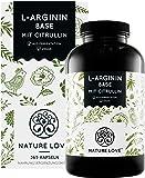 NATURE LOVE® L-Arginin Base mit Citrullin - Einführungspreis - Premium: pflanzliches Arginin in BASE Form mit 99,7…