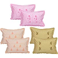 Rj Products® Cotton Embroided Multi Color Pillow Cover (Set of 6) Flower Leaf Pattern -Luxury Pillow Covers