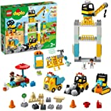 LEGO 10933 DUPLO Bouw met Torenkraan, Vrachtwagen, Graafmachine en Hotdog Kraam, Speelgoed voor Peuters vanaf 2 Jaar