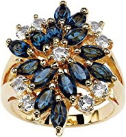 Palm Beach Jewelry 18K Gold-Plated Marquise Cut Blue Floral Ring Made with Swarovski Elements