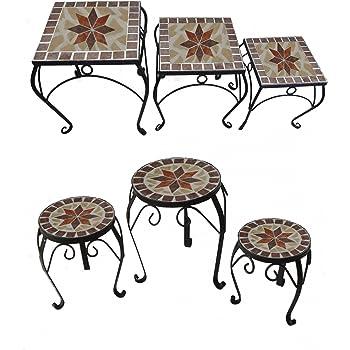 Blumenhocker 3 Satz Tisch Set Metall Mit Geschwungenen Beinen Und
