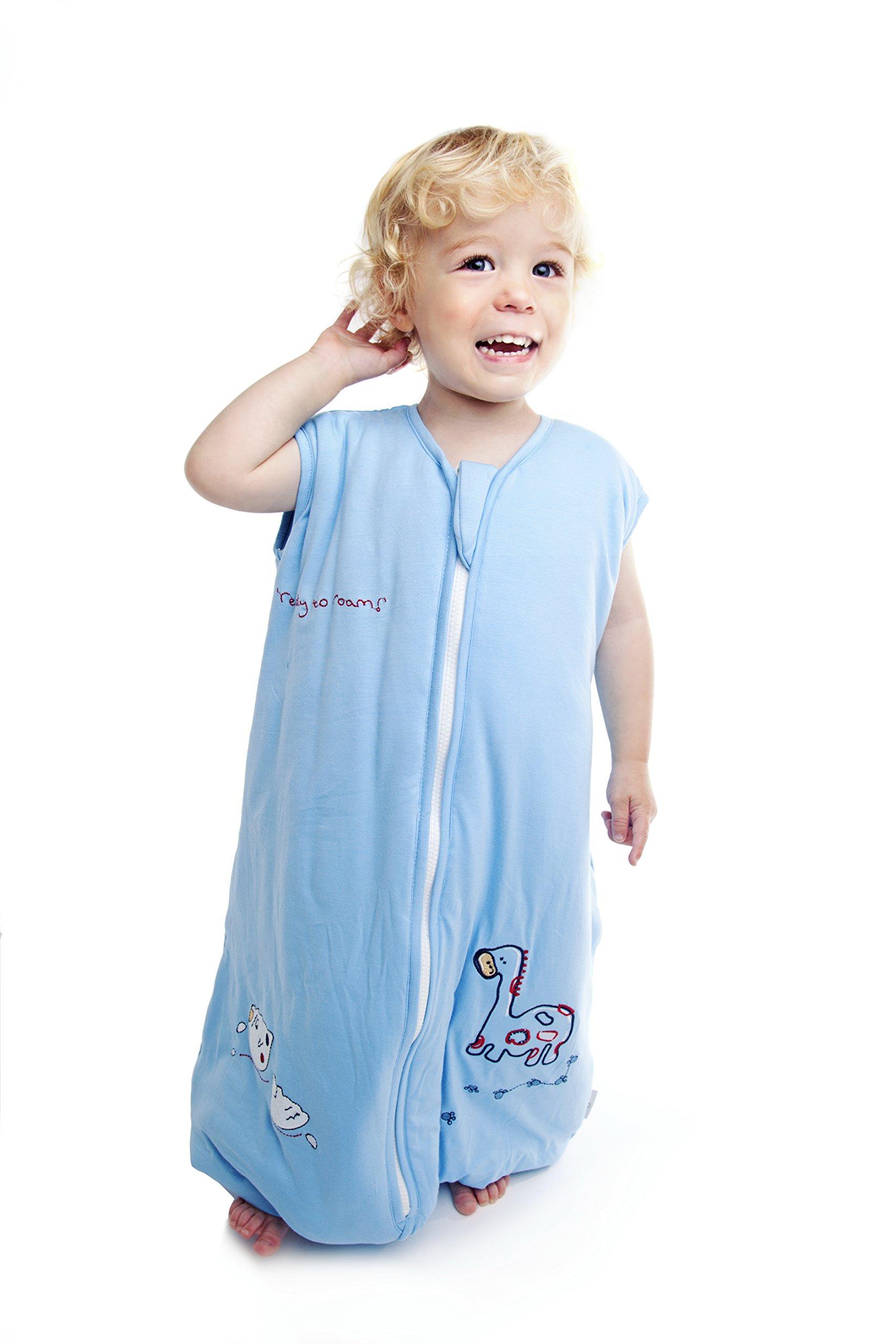 Saco de dormir saco de dormir con patas de bambú en talla 2,5–azul dinosaurios–disponible en 4tamaños diferentes azul azul Talla:18-24 meses