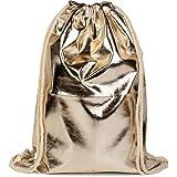 styleBREAKER Turnbeutel im Metallic Look, Sportbeutel, Rucksack, Beutel, Unisex 02012117, Farbe:Hellgold metallic