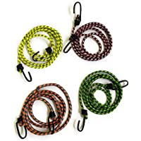 90 Degree 4 pcs High Tension Stretchable Elastic Rope with Hook for Cloth Hanging, Drying, Packing, Luggage Strap…