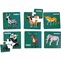 Toys Universe Animal Wooden Jigsaw Puzzles for Kids Children for 2+ Years, Set of 6 - 24 Pieces (14cm x 14cm)- Multi…