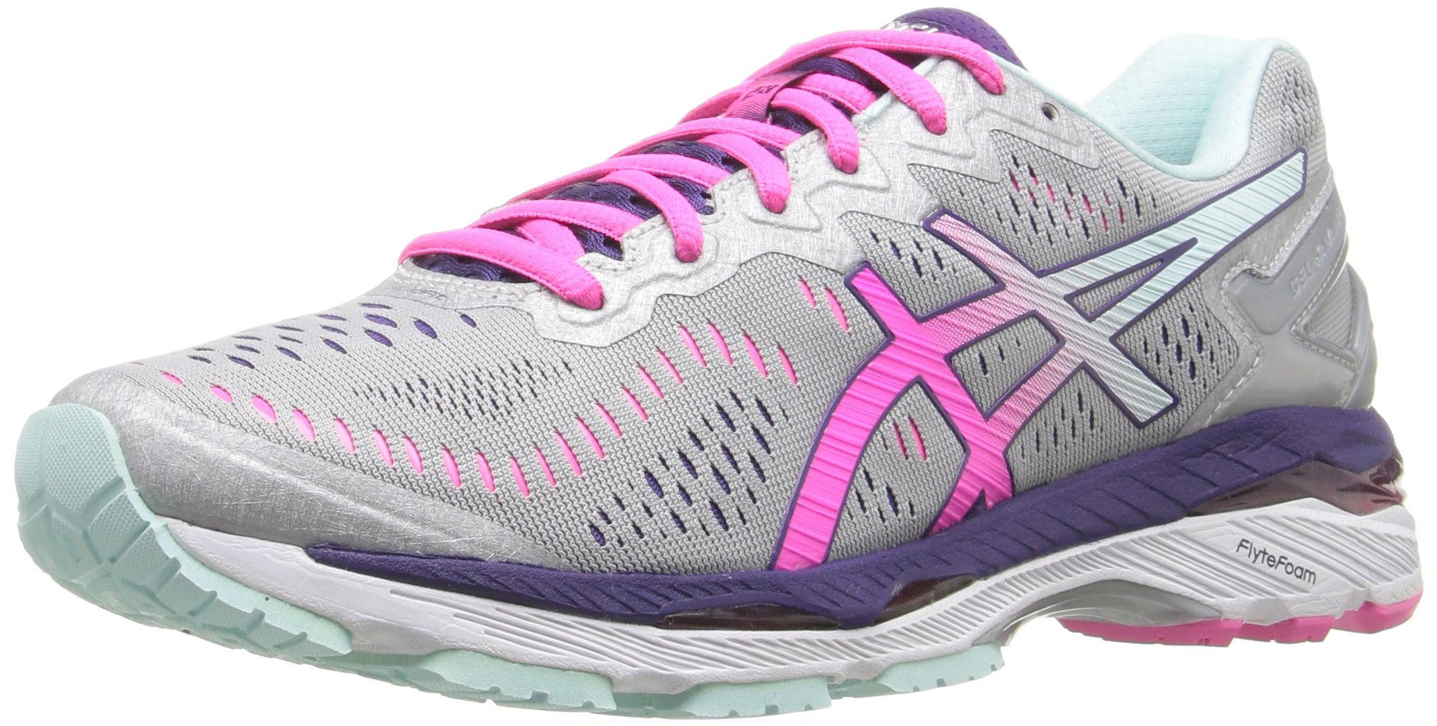 81D5fefswAL - ASICS Women's Gel-Kayano 23 Running Shoe, Silver/Pink Glow/Parachute Purple, 5.5 UK