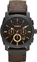 FOSSIL Machine / Montre chronographe homme en cuir brun - Grand cadran en acier inoxydable noir - Boîte de rangement et...