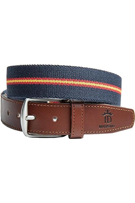 NEW)- Cinturón bandera de España con llavero a juego el cinturon es elástico y terminaciones en piel.(ES AJUSTABLE VALE DESDE LA TALLA 90 A LA 120): Amazon.es: Ropa y accesorios